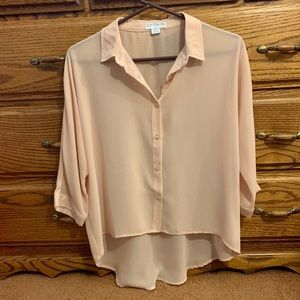 Dusty Rose Sheer Button Up Top